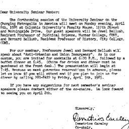 Announcements, 1985-03-25. ...