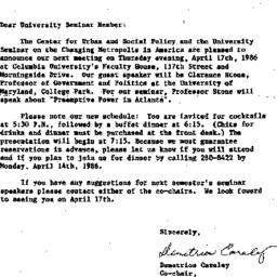 Announcements, 1986-03-20. ...
