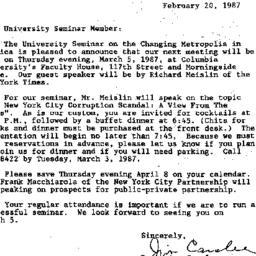 Announcements, 1987-02-20. ...