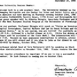 Announcements, 1986-09-24. ...