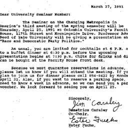 Announcements, 1991-03-27. ...