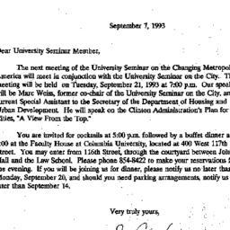 Announcements, 1993-09-07. ...