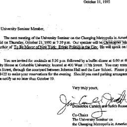 Announcements, 1993-10-11. ...