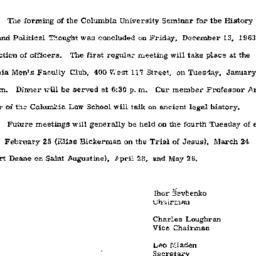 Announcements, 1964-01-06. ...