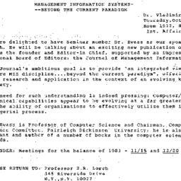 Announcements, 1984-10-08. ...