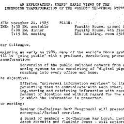 Announcements, 1985-11-21. ...