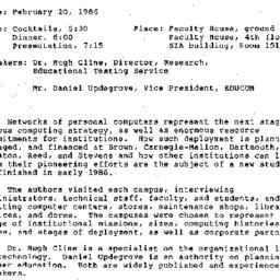 Announcements, 1986-02-20. ...