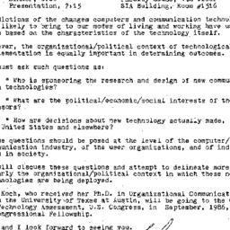 Announcements, 1986-05-15. ...