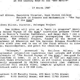 Announcements, 1987-03-19. ...