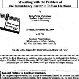 Announcements, 1999-11-15. ...