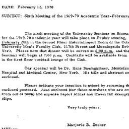 Announcements, 1970-02-12. ...