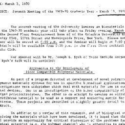 Announcements, 1970-03-03. ...