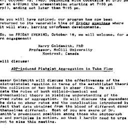 Announcements, 1985-10-09. ...