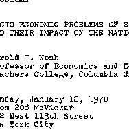 Announcements, 1970-01-12. ...