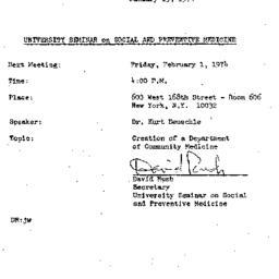 Announcements, 1974-01-15. ...