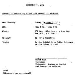 Announcements, 1973-09-06. ...