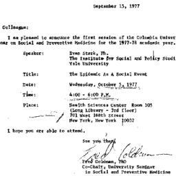 Announcements, 1977-09-15. ...