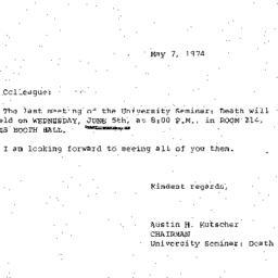 Announcements, 1974-05-07. ...