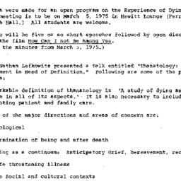 Minutes, 1975-01-22. Death,...