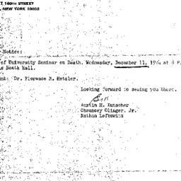 Announcements, 1974-12-11. ...