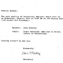 Announcements, 1982-01-11. ...