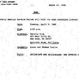Announcements, 1985-03-20. ...