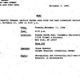 Announcements, 1984-11-03. ...