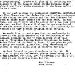 Announcements, 1973-05-10. ...