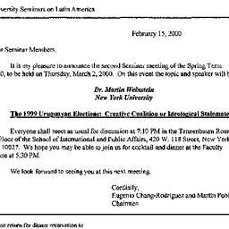 Announcements, 2000-03-02. ...