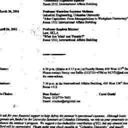 Announcements, 2001-03-01. ...