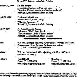 Announcements, 1999-12-16. ...