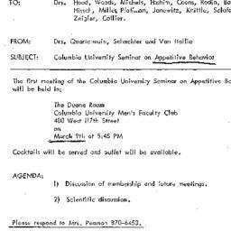 Announcements, 1972-03-09. ...