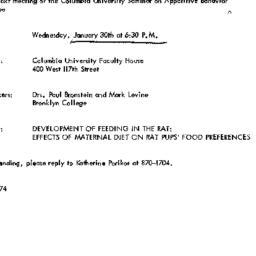 Announcements, 1974-01-30. ...
