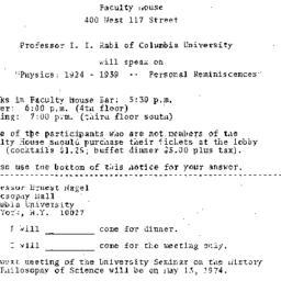 Announcements, 1974-04-26. ...
