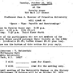 Announcements, 1974-10-02. ...