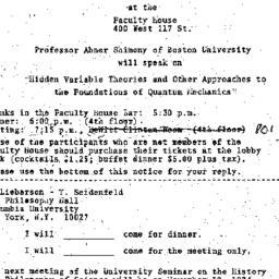 Announcements, 1974-11-05. ...