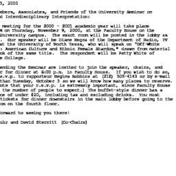 Announcements, 2000-10-23. ...