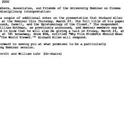 Announcements, 2000-03-17. ...