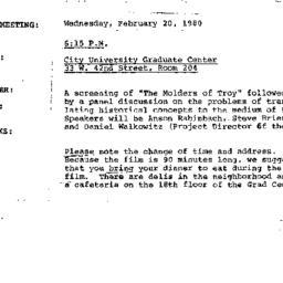Announcements, 1980-01-24. ...