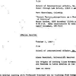 Announcements, 1982-10-07. ...