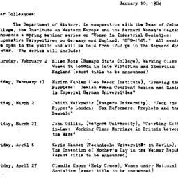Announcements, 1984-01-10. ...