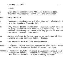 Announcements, 1985-01-31. ...