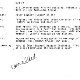 Announcements, 1987-01-22. ...