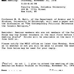 Announcements, 1978-11-30. ...