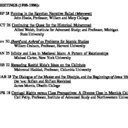 Schedules, Arabic Studies, ...