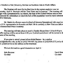 Announcements, 2000-03-10. ...