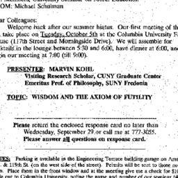 Announcements, 1999-09-15. ...
