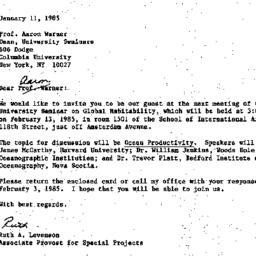 Correspondence, 1985-01-11....