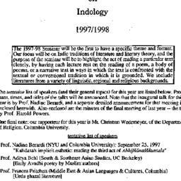 Correspondence, Indology, s...