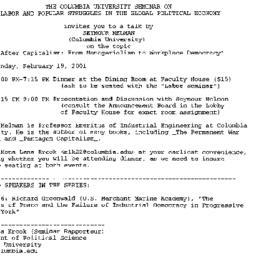 Announcements, 2001-02-06. ...